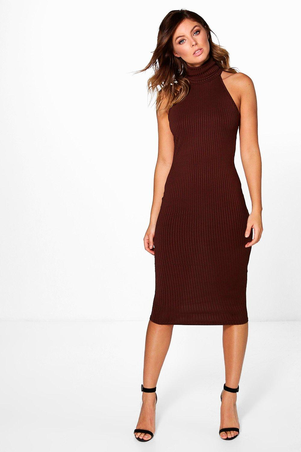 Anya High Neck Ribbed Midi Dress
