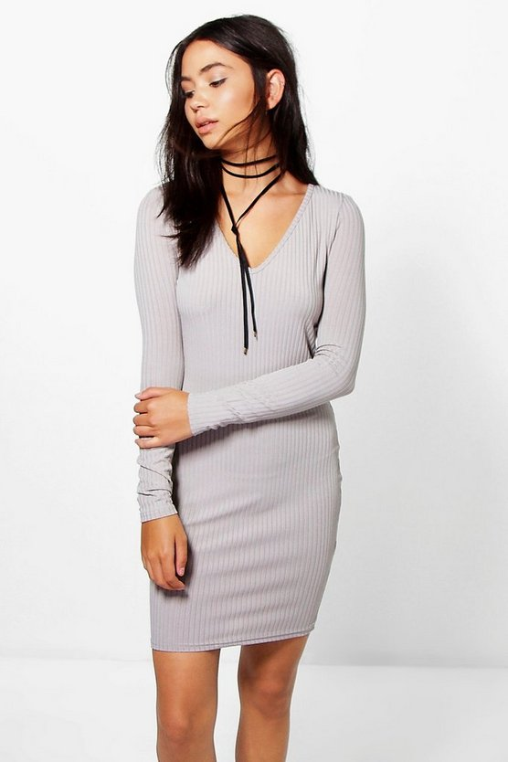 Karlie Ribbed V Neck Mini Bodycon Dress