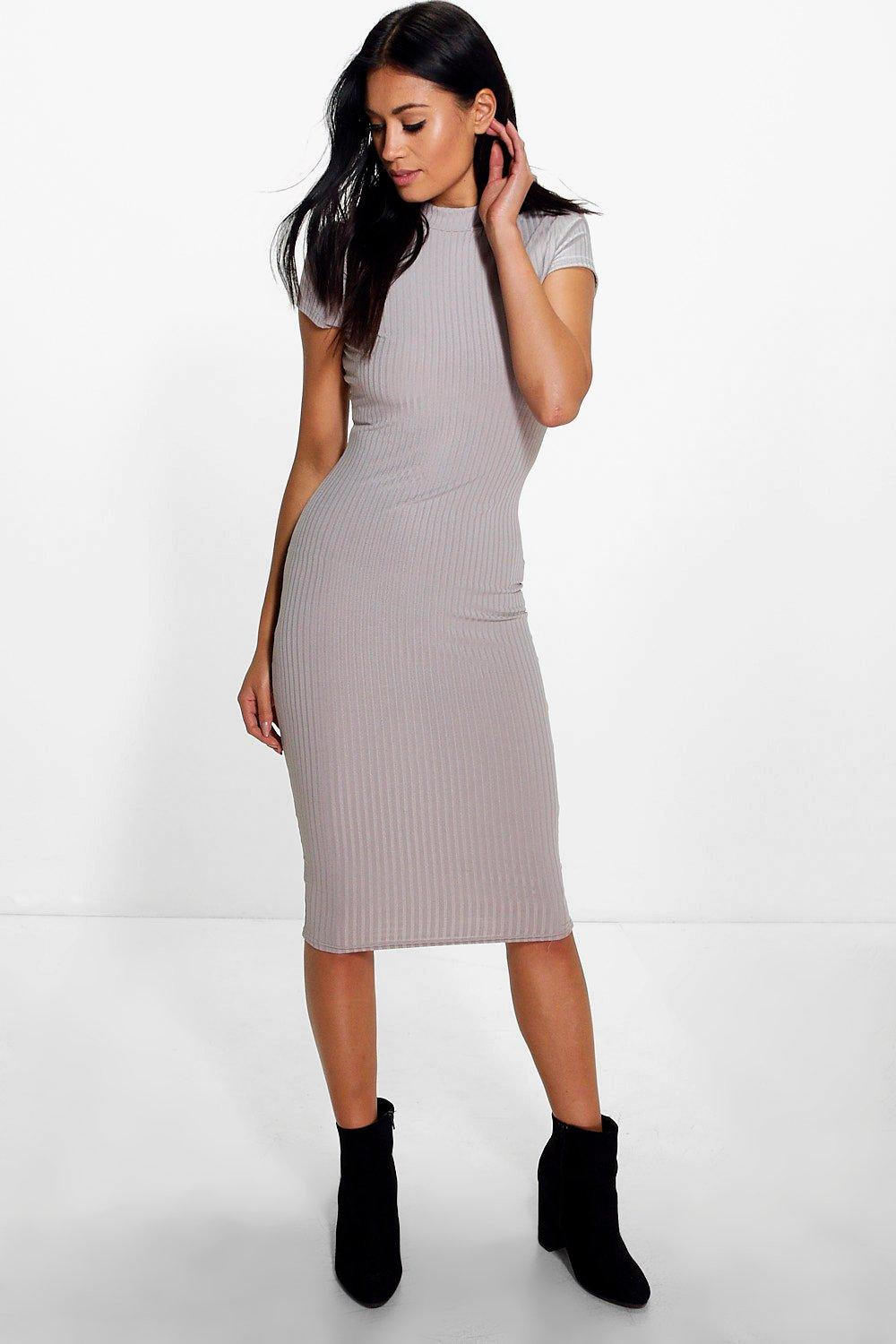 Lo High Neck Cap Sleeved Bodycon Midi Dress