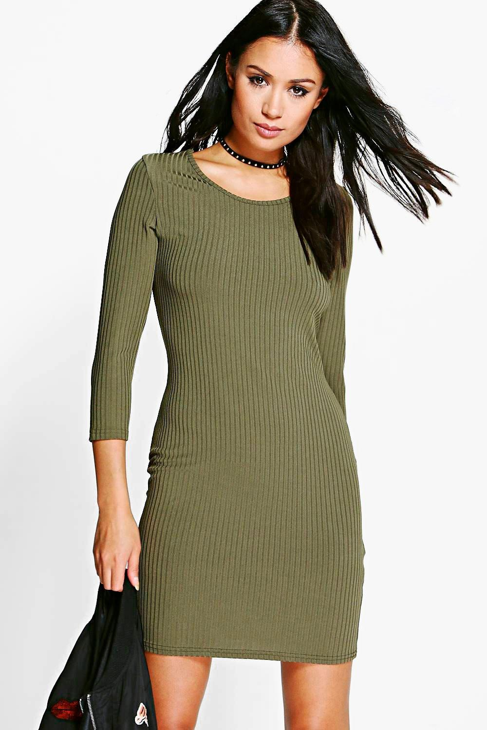 Marcie Ribbed 3/4 Sleeved Bodycon Dress