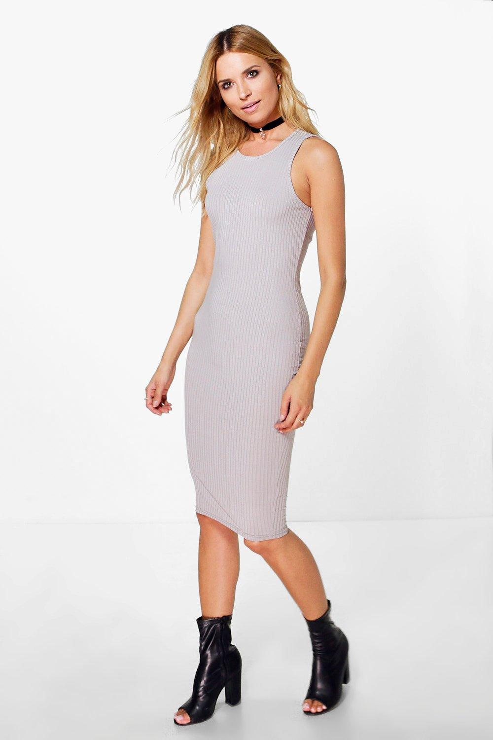 Joslyn Ribbed Racer Front Midi Dress