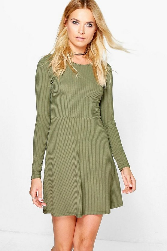 Maryana Long Sleeved Ribbed Skater Dress