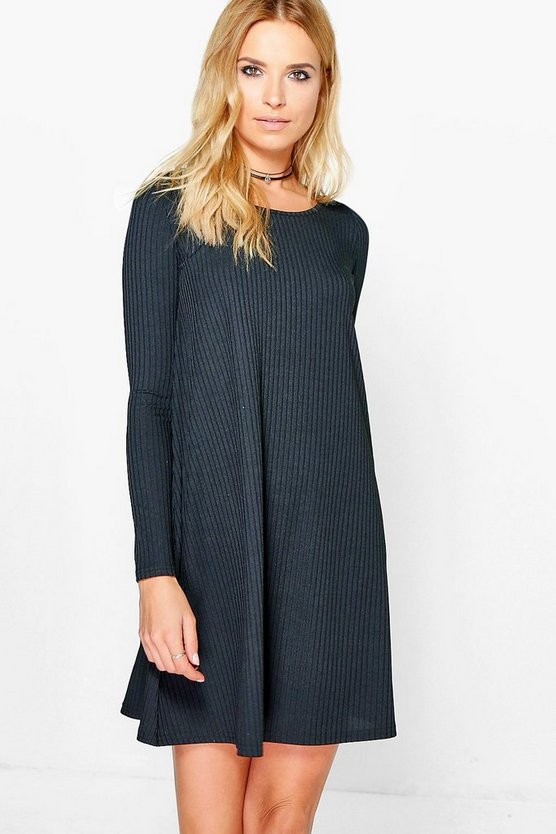 Marissa Ribbed Long Sleeved Swing Dress