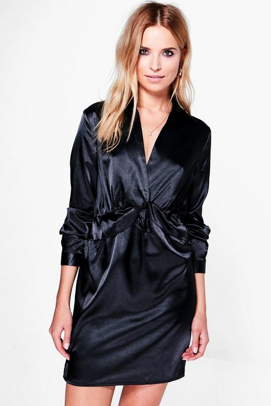 Brianna Satin Knot Front Shirt Dress