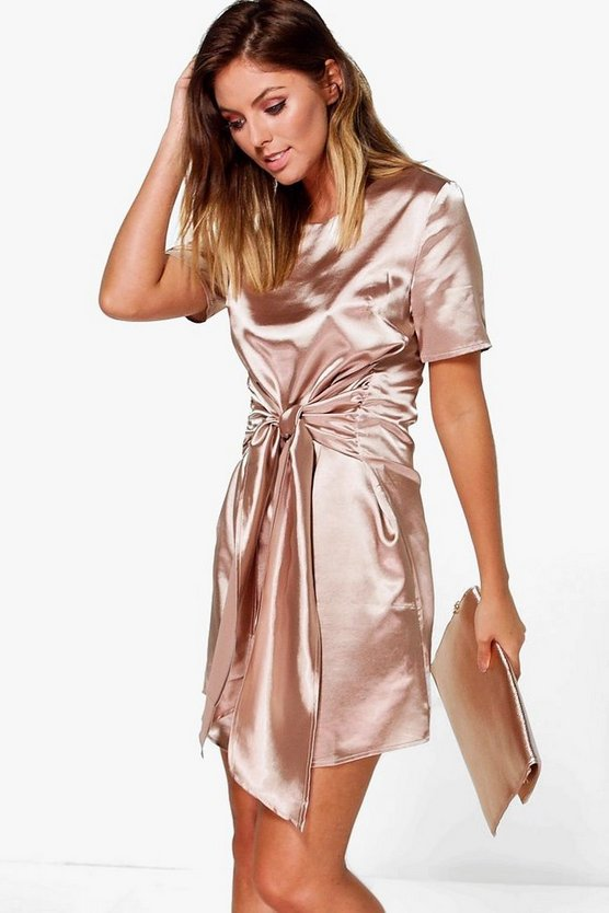 Orlagh Oversized Tie Waist Satin Shift Dress