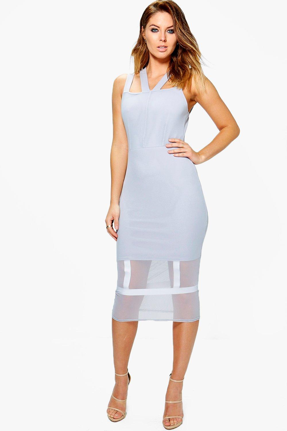 Chiara Mesh Caged Detail Midi Dress