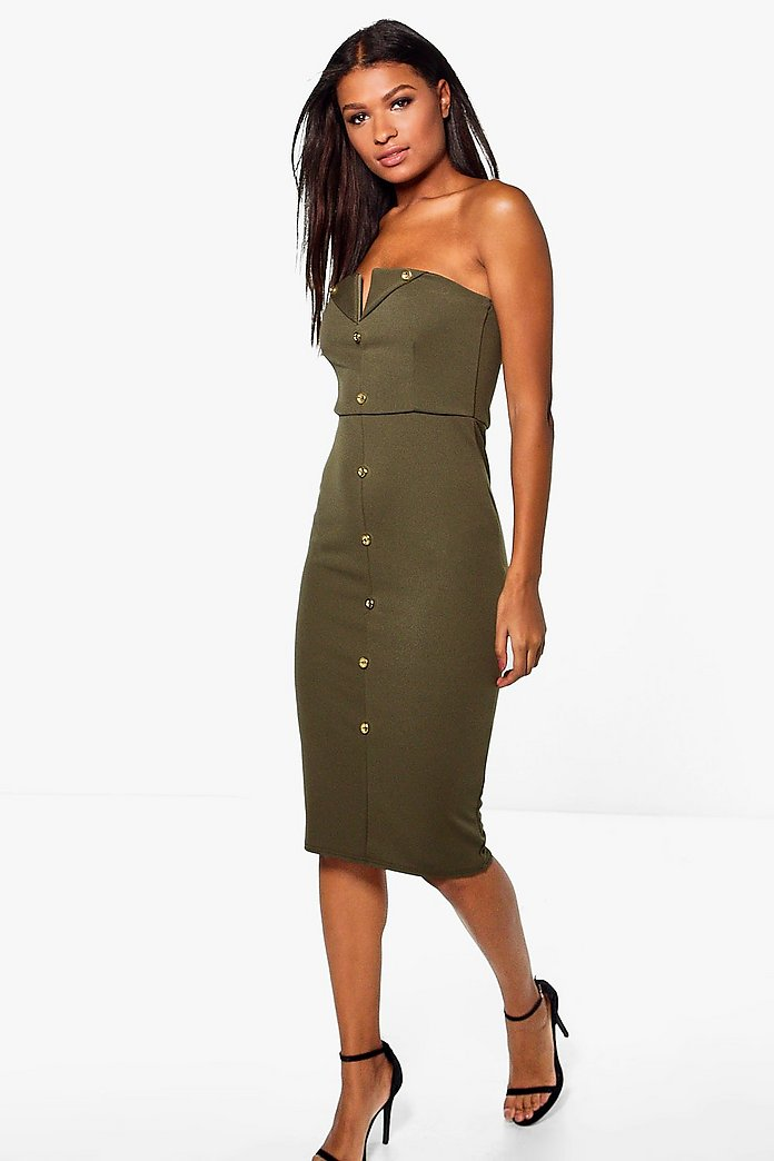 Dahlia Button Detail 'V' Bandeau Midi Dress