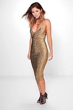 Domenica Metallic Plunge Midi Dress