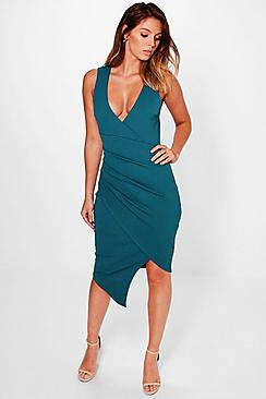 Elizabeth Deep Plunge Wrap Midi Dress