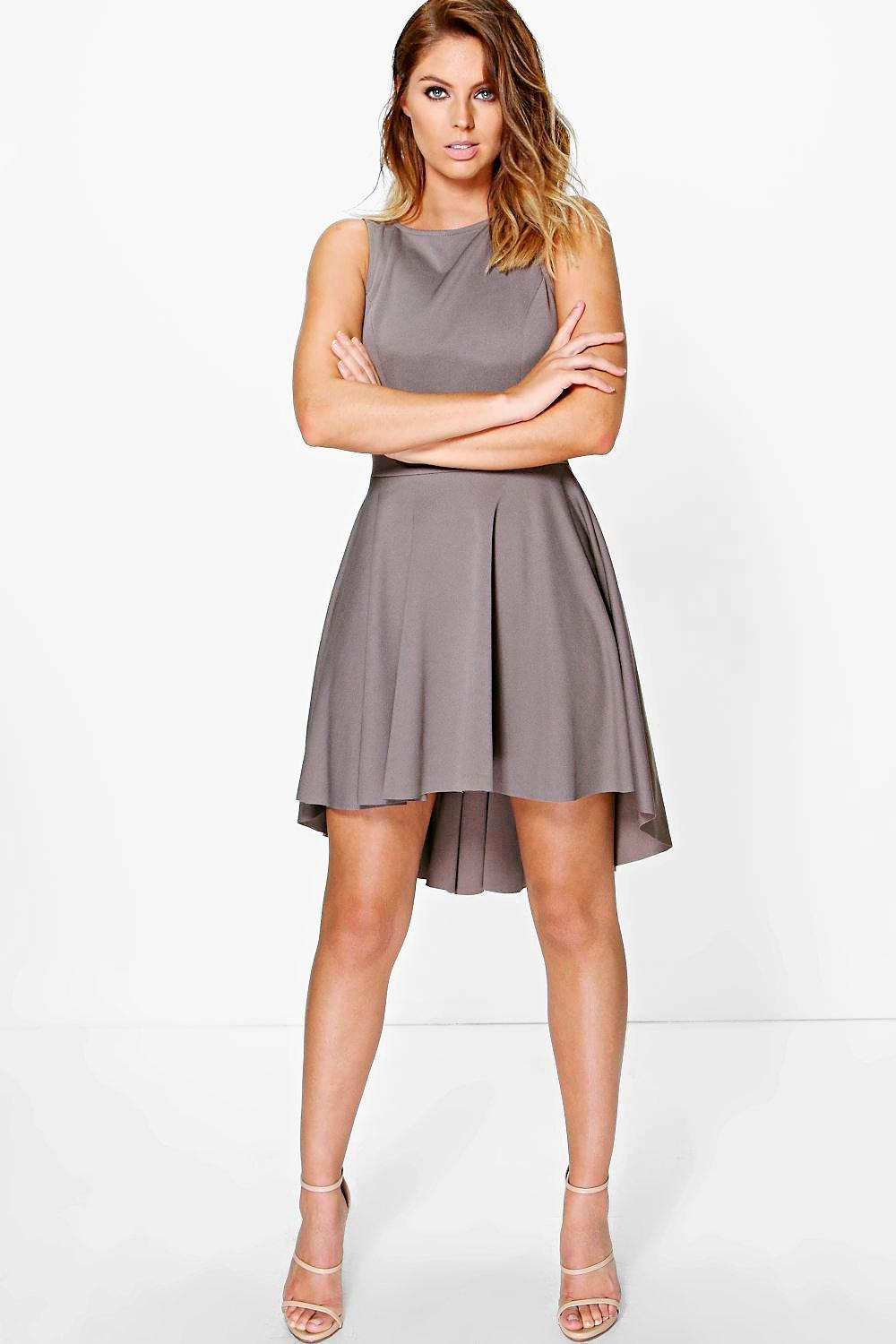 Olivia Crepe Dip Hem Full Skater Dress