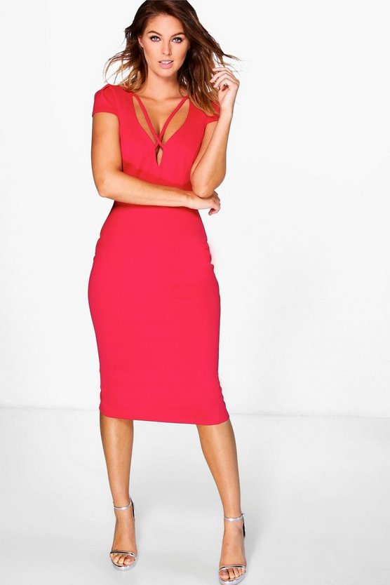 Millie Strappy Neckline Midi Bodycon Dress