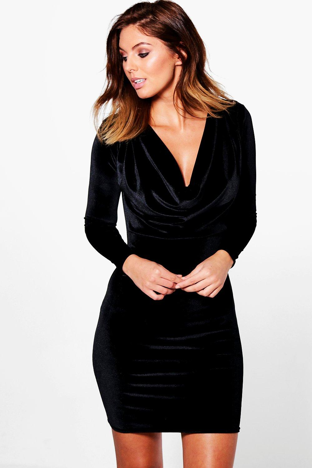 Cameron Velvet Cowl Neck Bodycon Dress