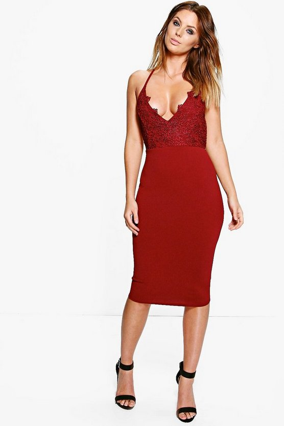 Leonie Crochet Lace Top Strappy Midi Dress