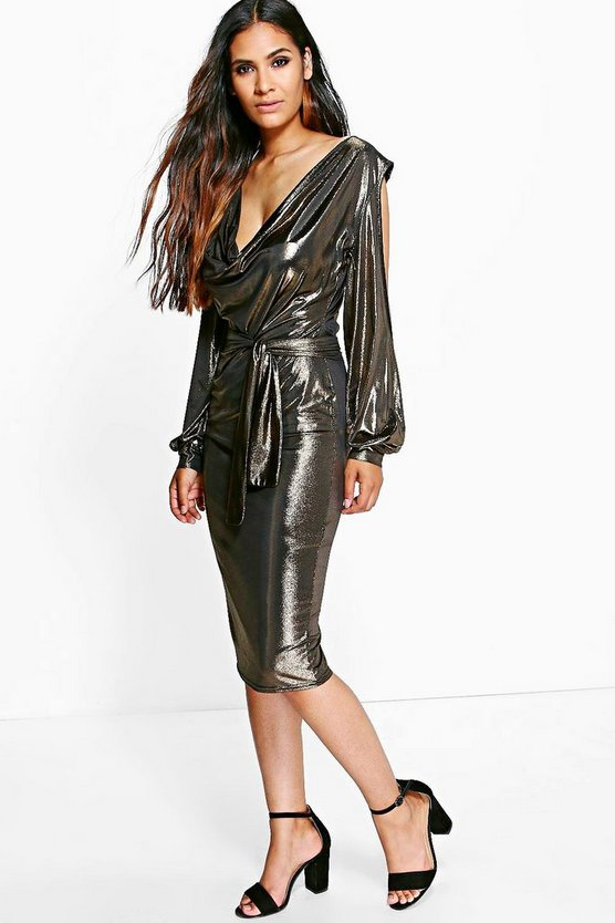 Holly Metallic Open Shoulder Midi Dress