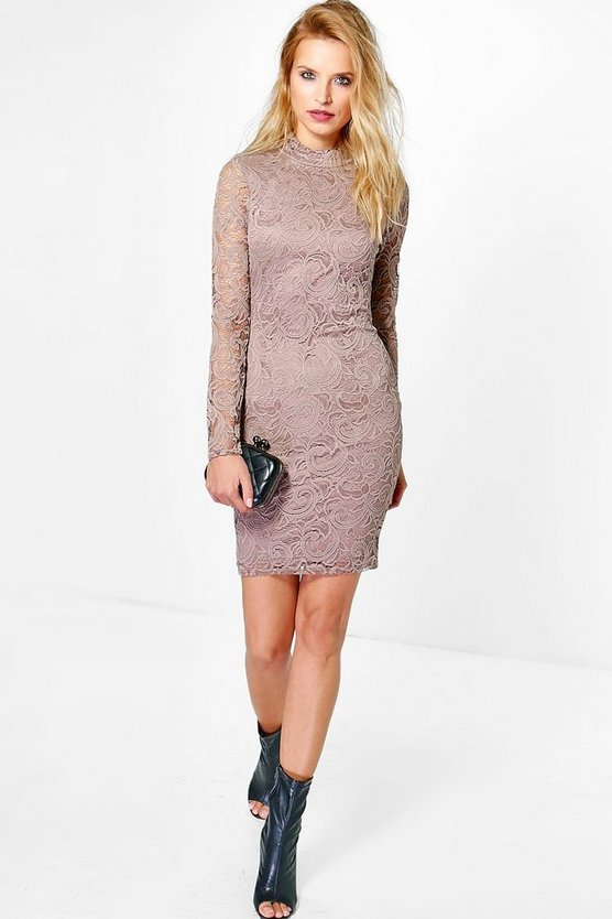 Cait High Neck Lace Long Sleeved Midi Dress