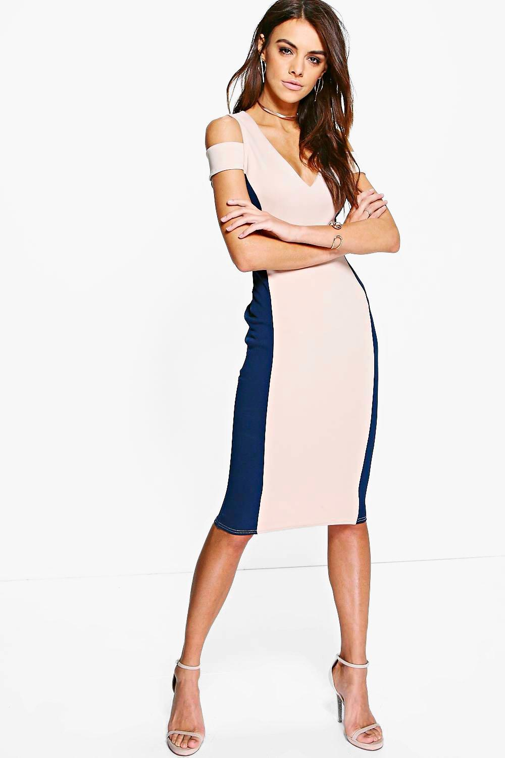 Grace Colour Block Cold Shoulder Midi Dress