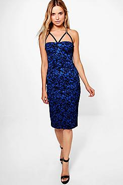 Ciara Velvet Flock Strappy Bodice Midi Dress