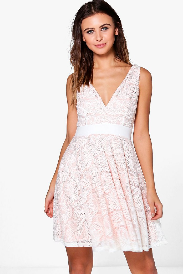 Bonnie Plunge All Over Lace Skater Dress