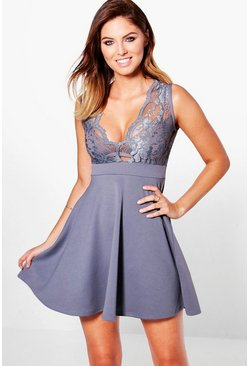 Lilly Lace Plunge Scallop Skater Dress