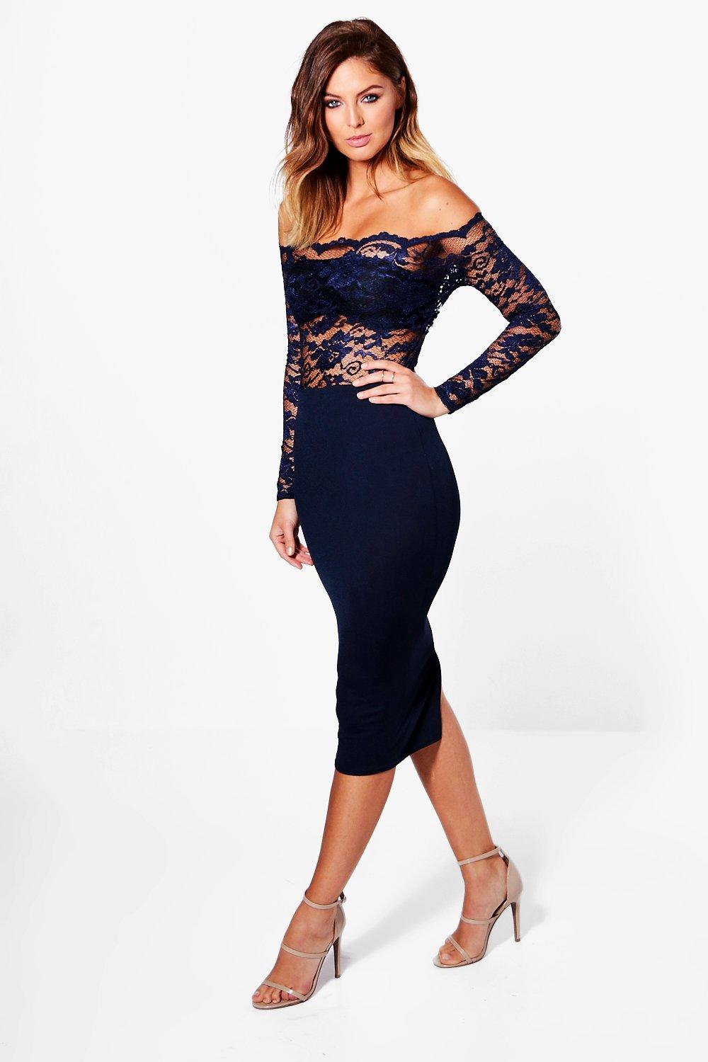 Rhia Lace Top Off Shoulder Midi Dress