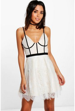 Boutique Kat Piping Bustier Skater Dress