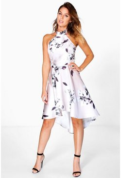 Boutique Nadia Satin Dip Hem Skater Dress