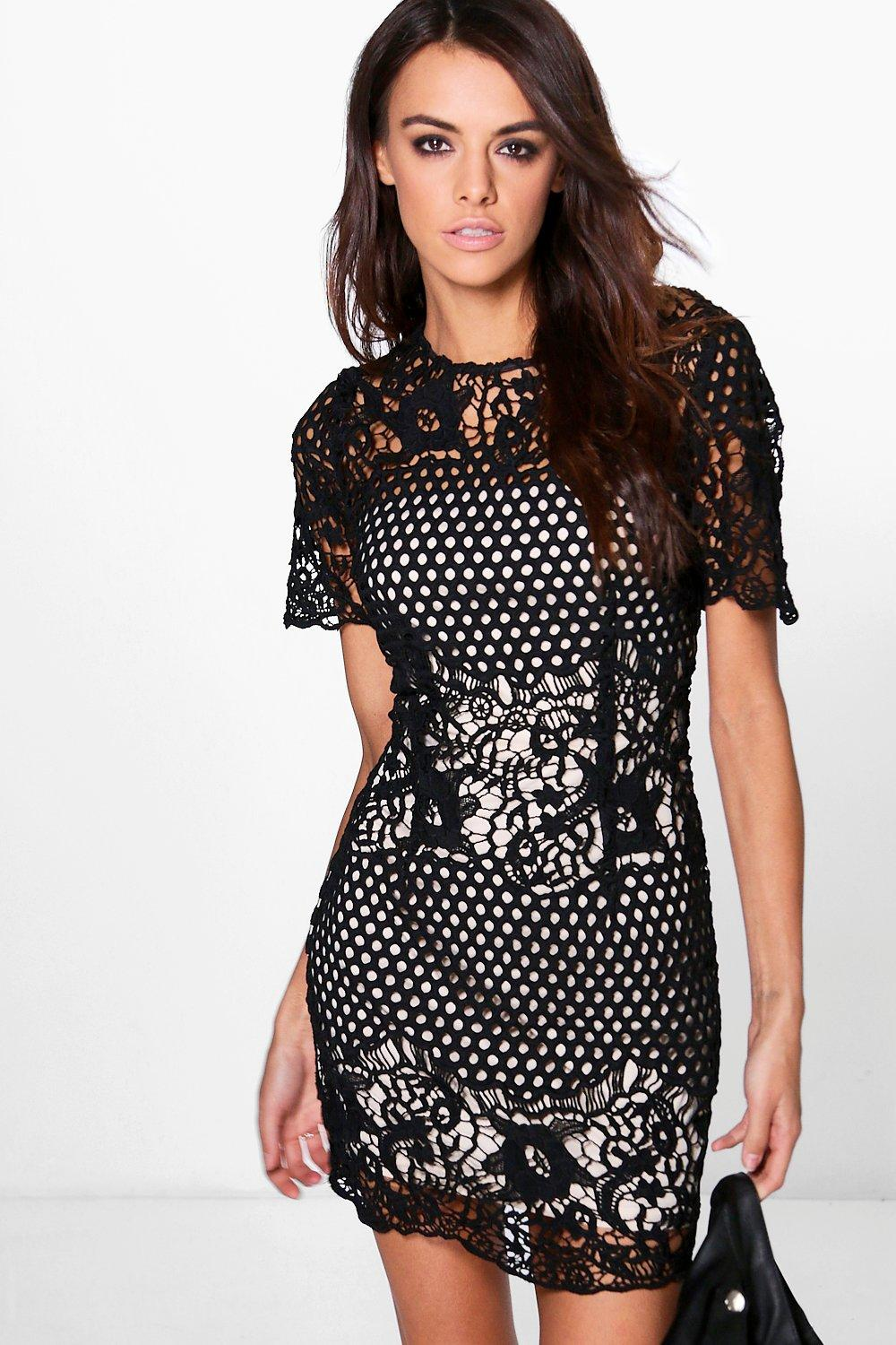 Boutique Lila Crochet Border Bodycon Dress