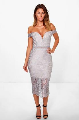 Boutique Bea Off Shoulder Lace Midi Dress