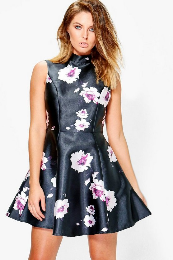 Boutique Annora Floral Satin Skater Dress