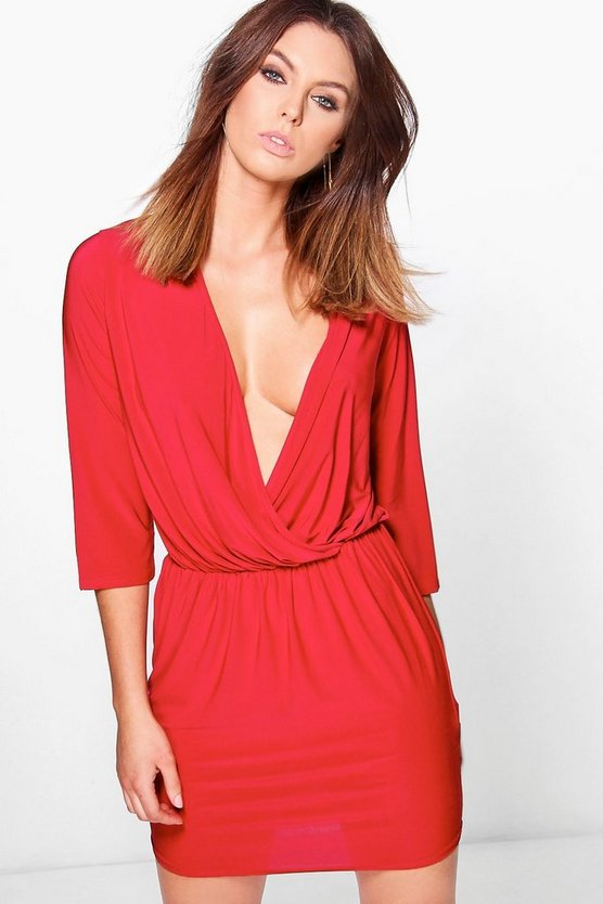 Kalani Slinky Deep Wrap Bodycon Dress