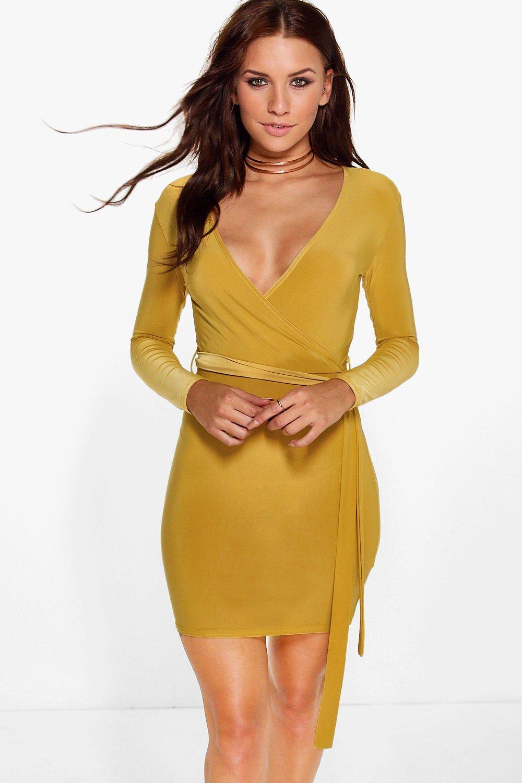 Slinky Wrap Tie Waist Bodycon Dress  gold