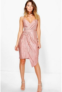 Akia Metallic Pleat Wrap Drape Midi Dress