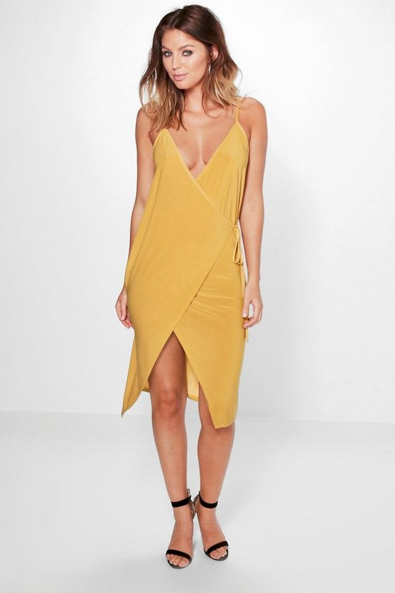 Carrie Slinky Sharp Wrap Tie Midi Dress