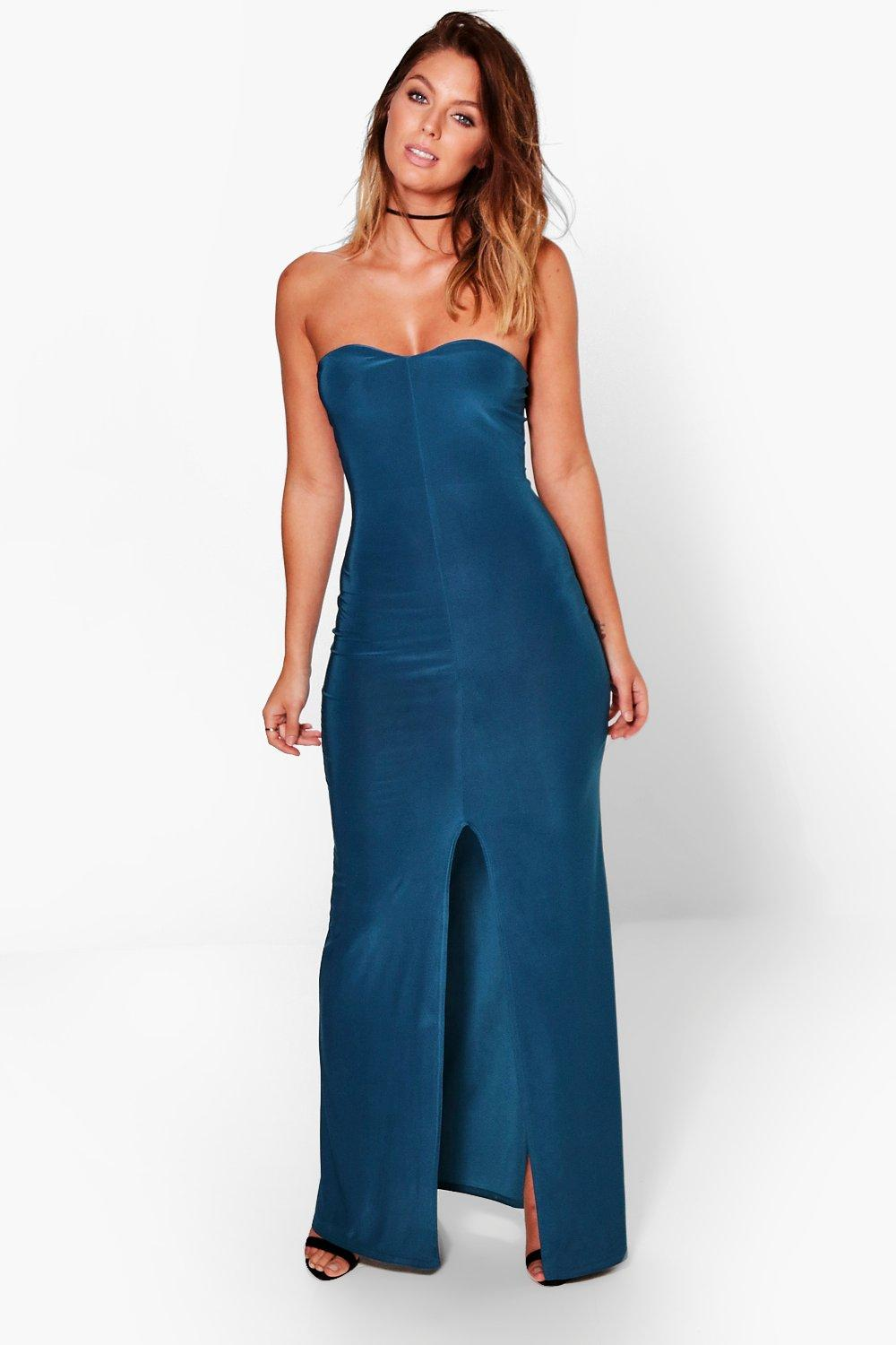 Harriet Bandeau Split Front Maxi Dress