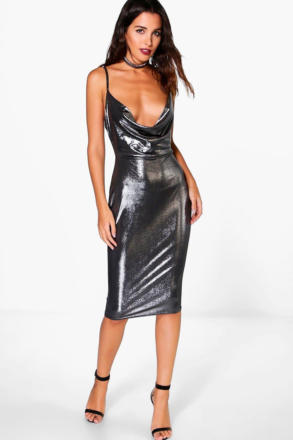 Pearl Metallic Strappy Cowl Neck Midi Dress