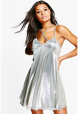 Avianna Metallic Strappy Swing Dress