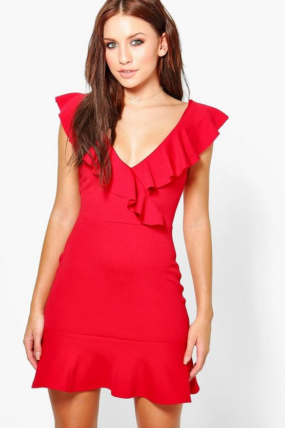Sophia Frill Wrap & Hem Bodycon Dress