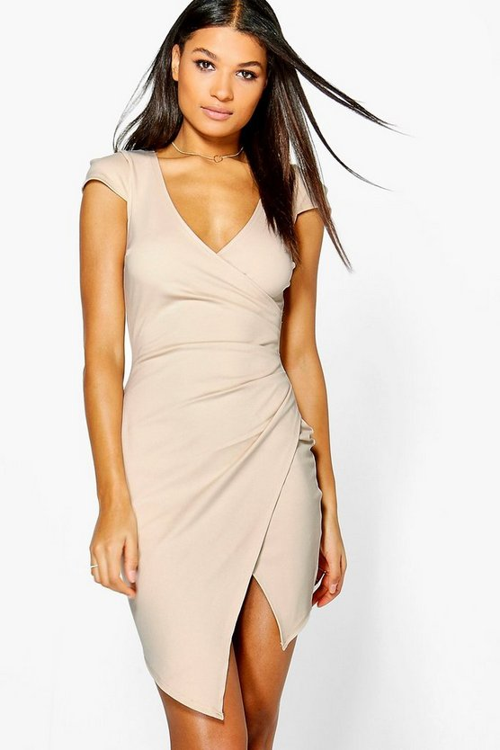 Meg Cap Sleeved Wrap Detail Bodycon Dress