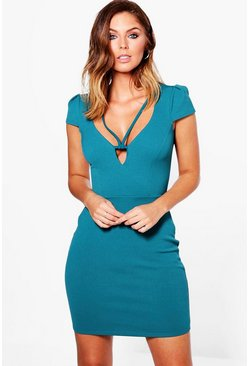 Iona Caged Plunge Textured Bodycon Dress