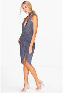Jamie Cut Out Neck Wrap Slinky Midi Dress