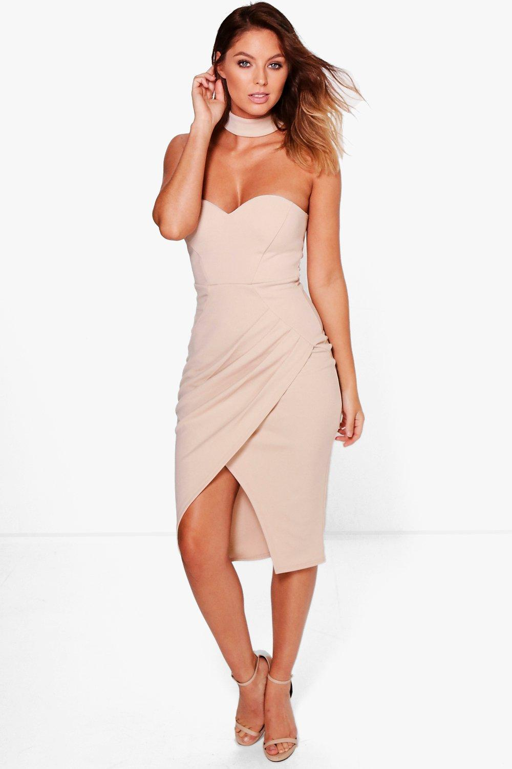 Orlagh Pleated Choker Wrap Midi Dress