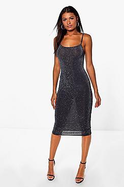 Aliana Metallic Strappy Midi Dress