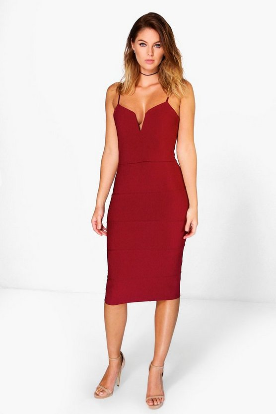 Jayne Bandage Plunge Midi Bodycon Dress