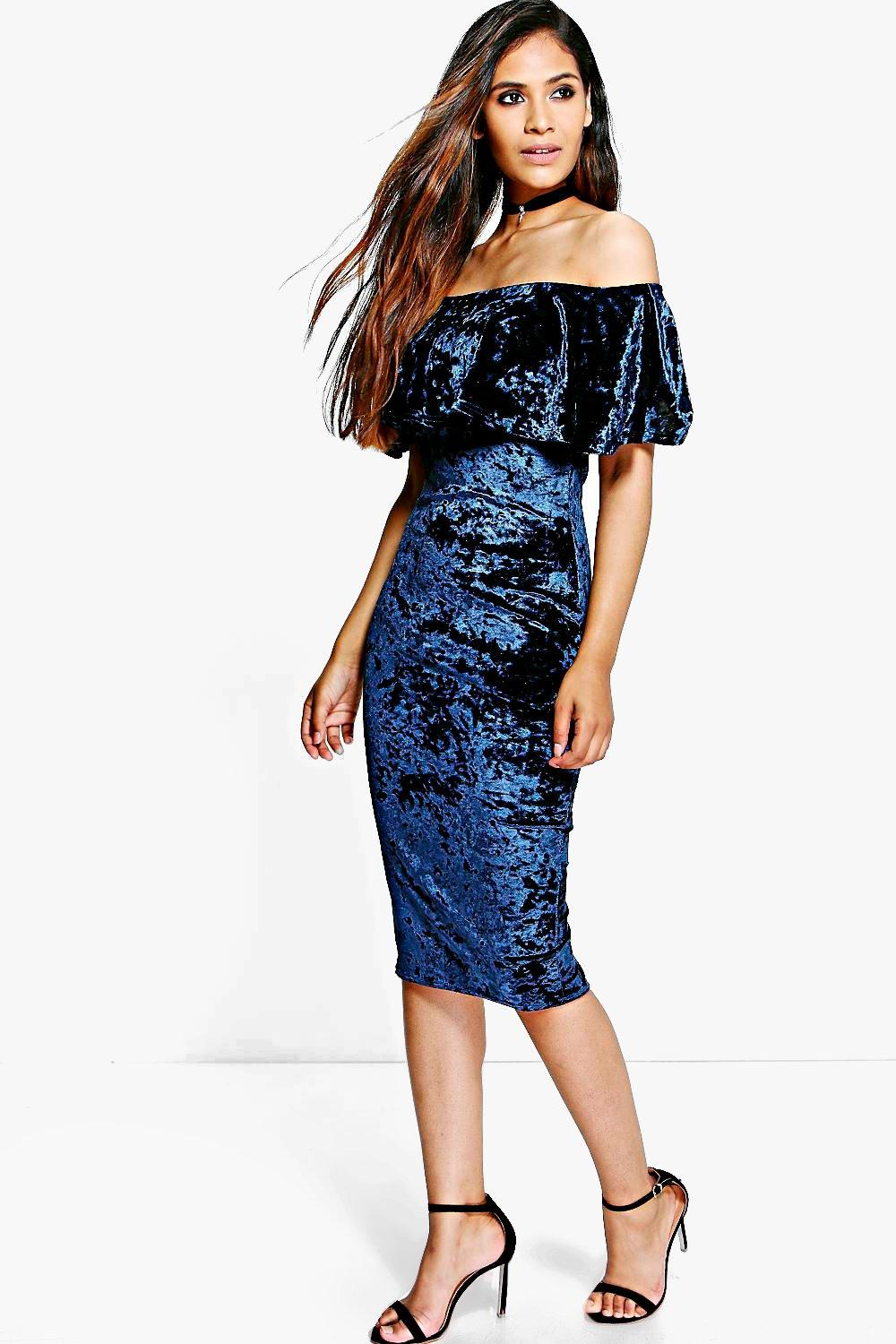 Ellie Velvet Off Shoulder Bodycon Dress