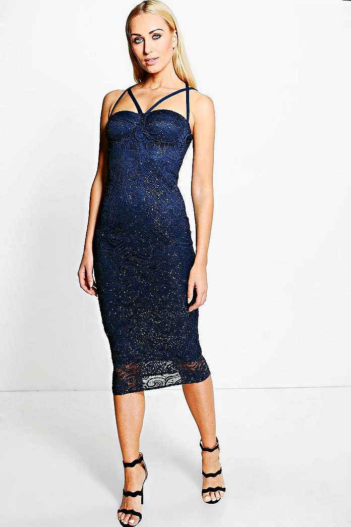 Addie Metallic Lace Strappy Bodycon Dress
