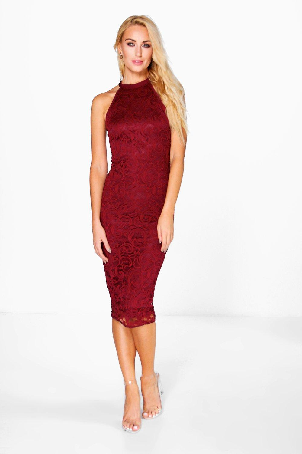 Zena All Over Lace Racer Front Midi Dress