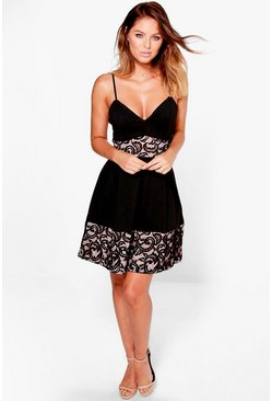 Una Strappy Lace Panelled Skater Dress