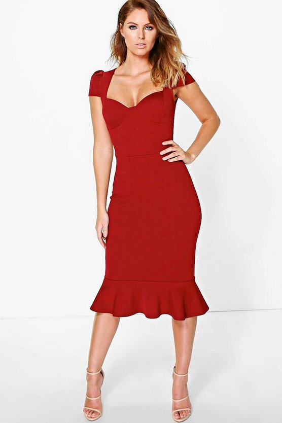 Isla Sweetheart Neck Peplum Midi Dress