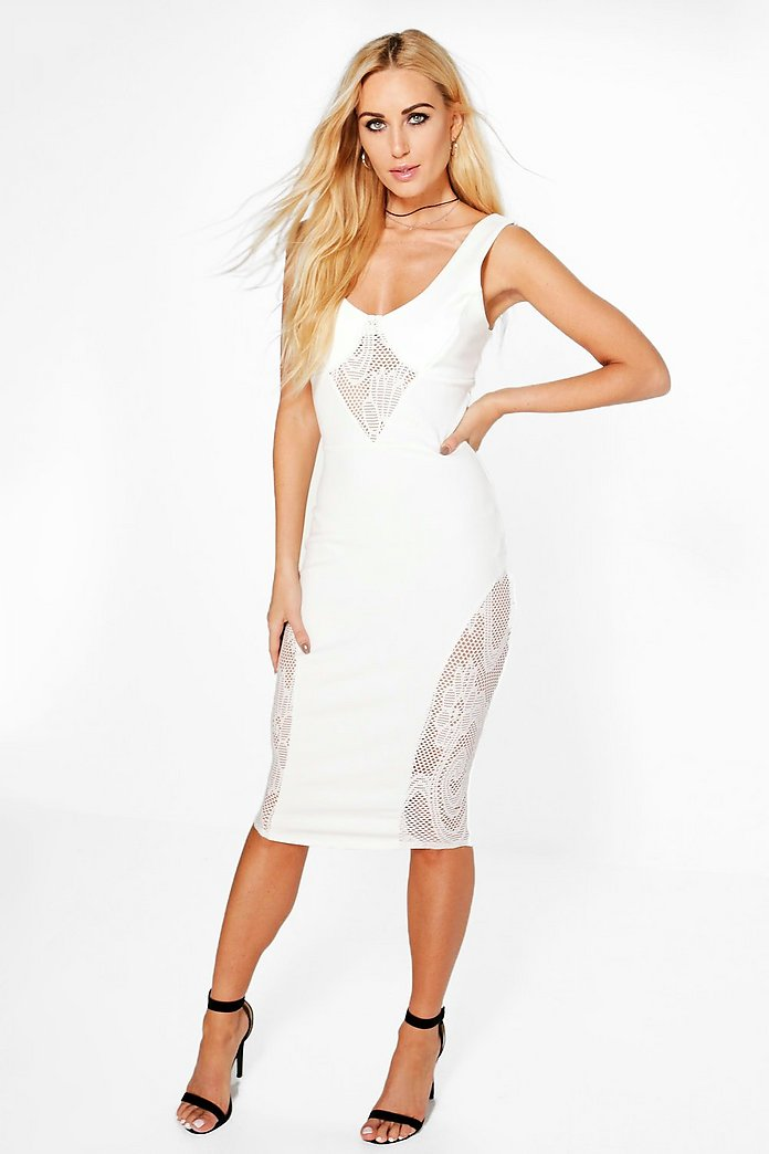 Juilie Plunge Neck Lace Insert Midi Dress