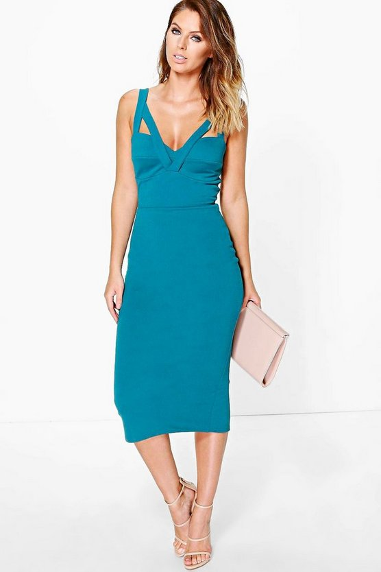 Leila Strappy Sweetheart Neck Midi Dress